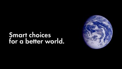 "Illustration: ""Smart choices for a better world"", against a space background with the Earth to the right. Photo/illustration: NCC"
